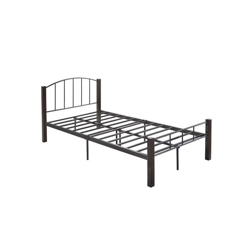 Luna King Single Metal Bed Frame With Solid Rubberwood