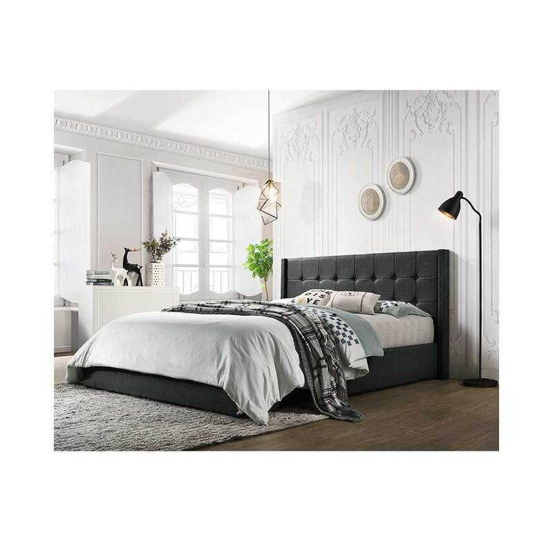 Queen Size Upholstered Bed Frame With Gas Lift Ottoman