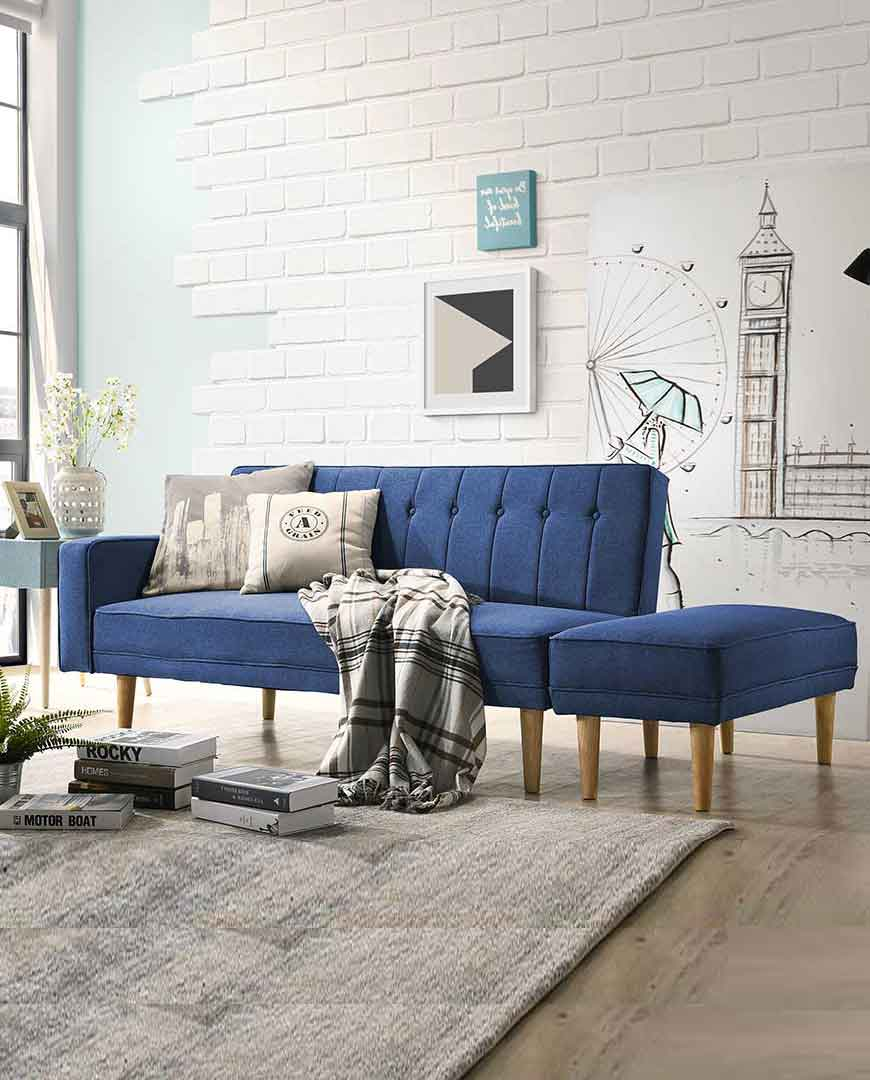 Terrific Scandinavian 3 Seater Sofa Bed Fabric Futon With Ottoman In Blue Theyellowbook Wood Chair Design Ideas Theyellowbookinfo