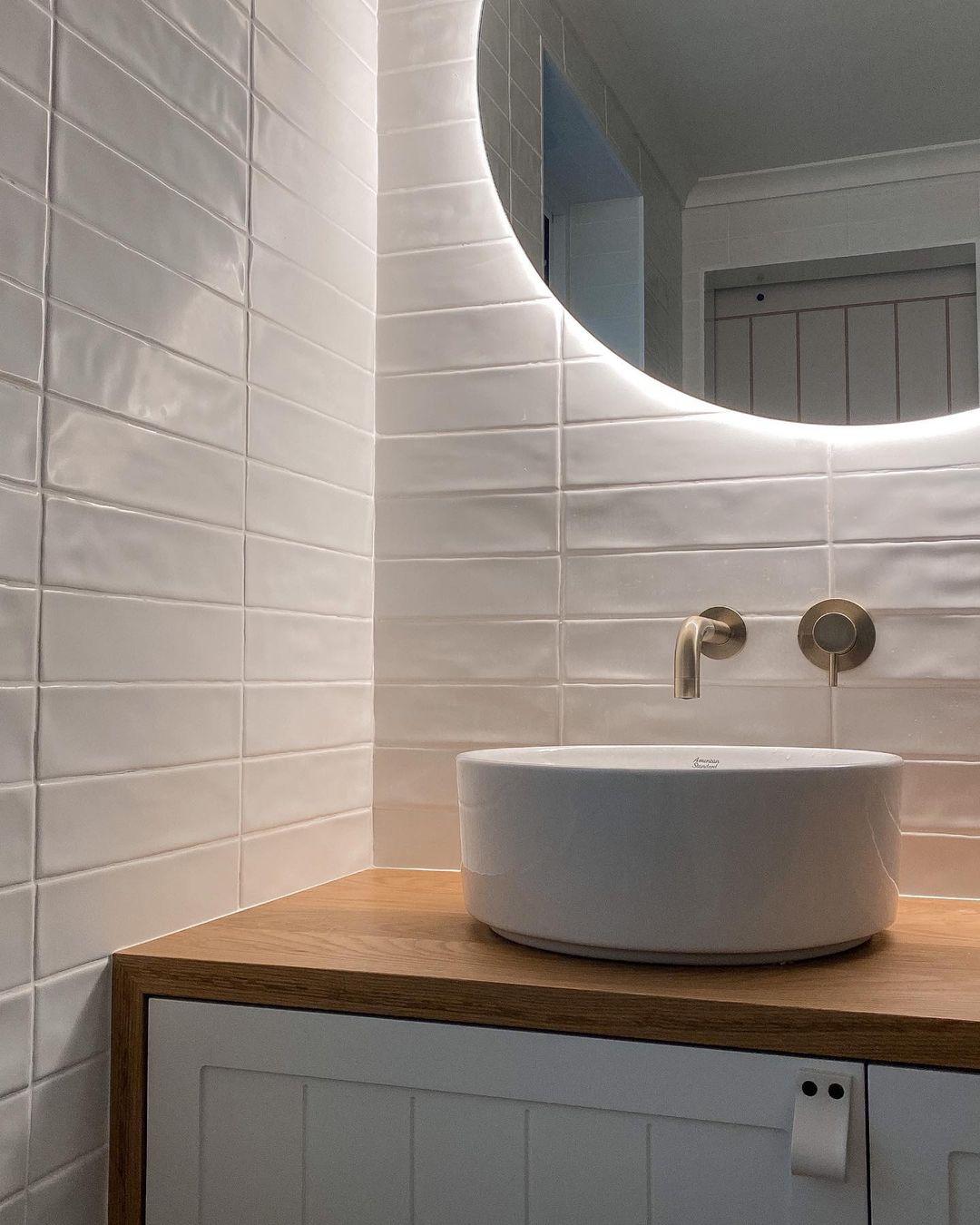 Rear Soft Glow LED Backlit Round Bathroom Mirror Warm/Cool ...