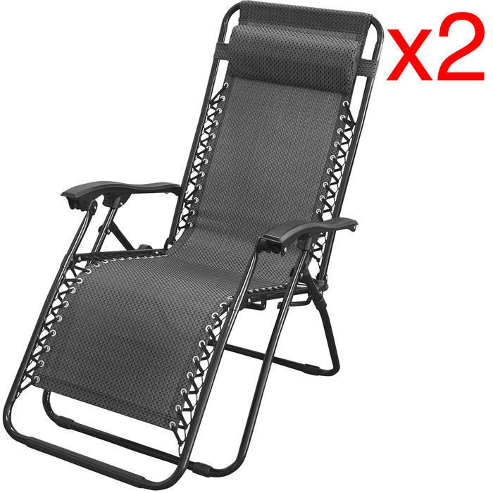 2x Zero Gravity Outdoor Portable Foldable Reclining Lounge