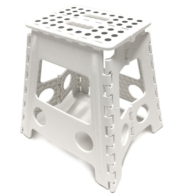 39cm White Plastic Folding Step Stool Portable Chair Flat