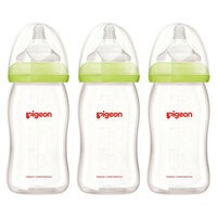 3x Pigeon Softouch Glass Peristaltic Plus Feeding Bottle 160ml SS Teat Baby 0m+
