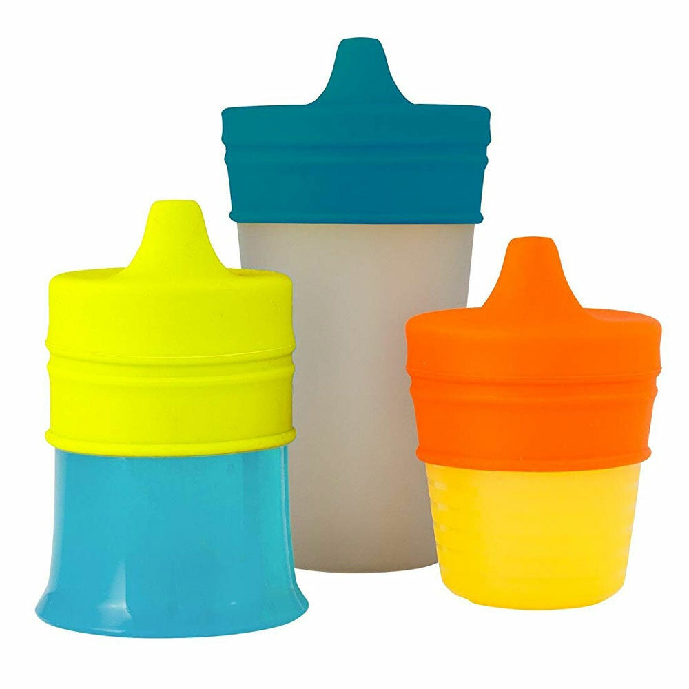 3pc Boon Snug Straw Baby//Boy//12m+//Infant Universal Cup Cover//Lid BL//OR//YL