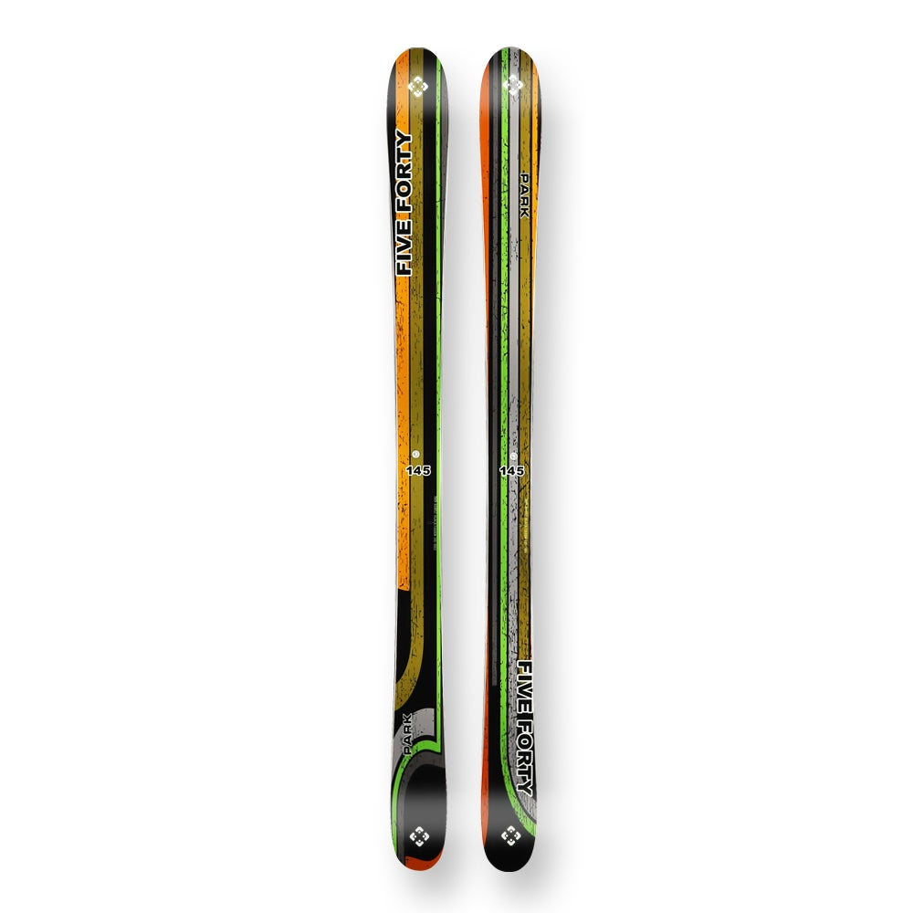 Five Forty Snow Skis Park Black/Green Camber Sidewall With