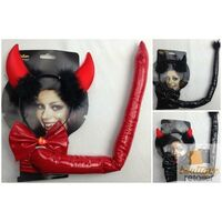 DEVIL COSTUME KIT Halloween Vampire Headband Tail & Bow Tie Set Fancy Party New