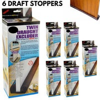 6x Twin DRAFT STOPPER Double Sided Snake Air Wind Door Guard Cover Weather Seal