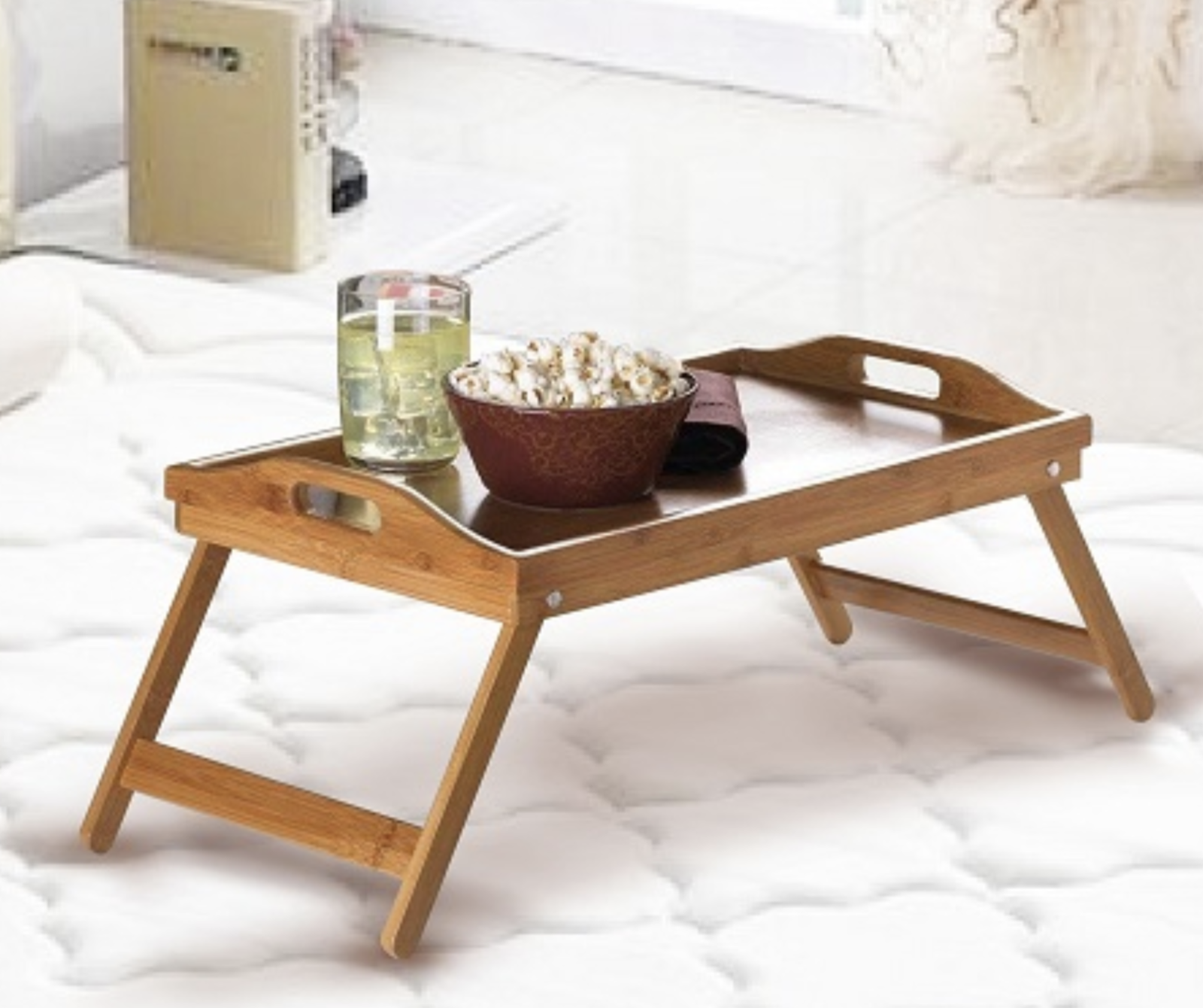 BAMBOO FOLD UP LAP SERVING TRAY Tea Coffee Table Wooden ...