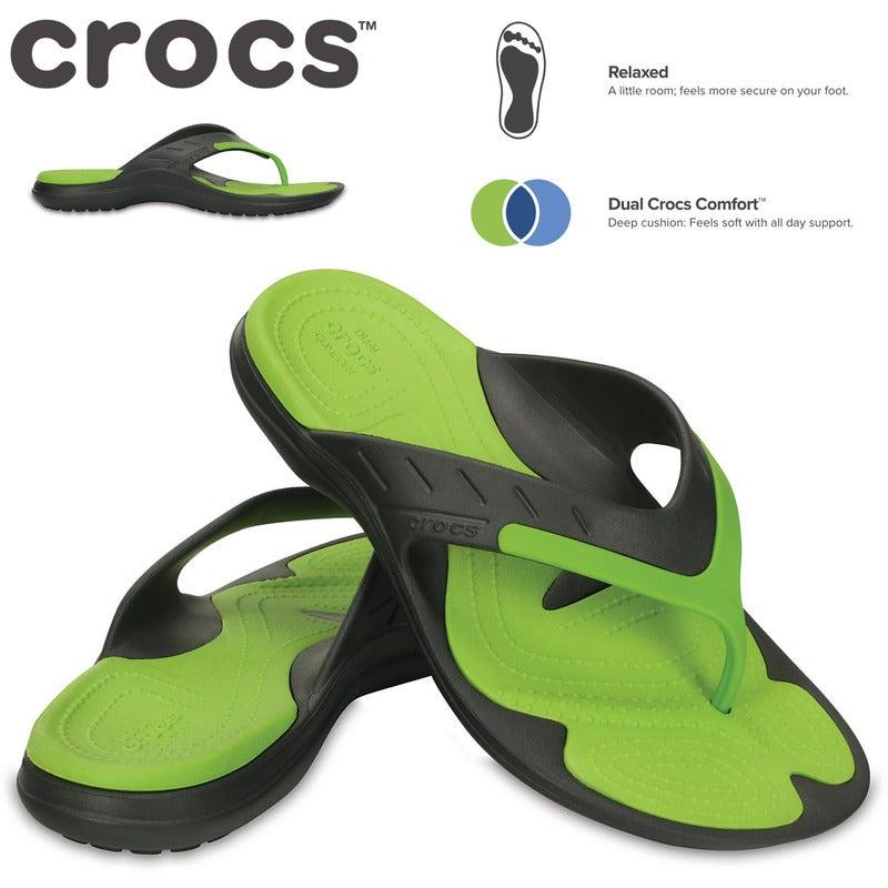 super kvalitet ny hög varm försäljning Crocs Men's MODI Sport Flip Flops Thongs - Graphite/Volt Green ...