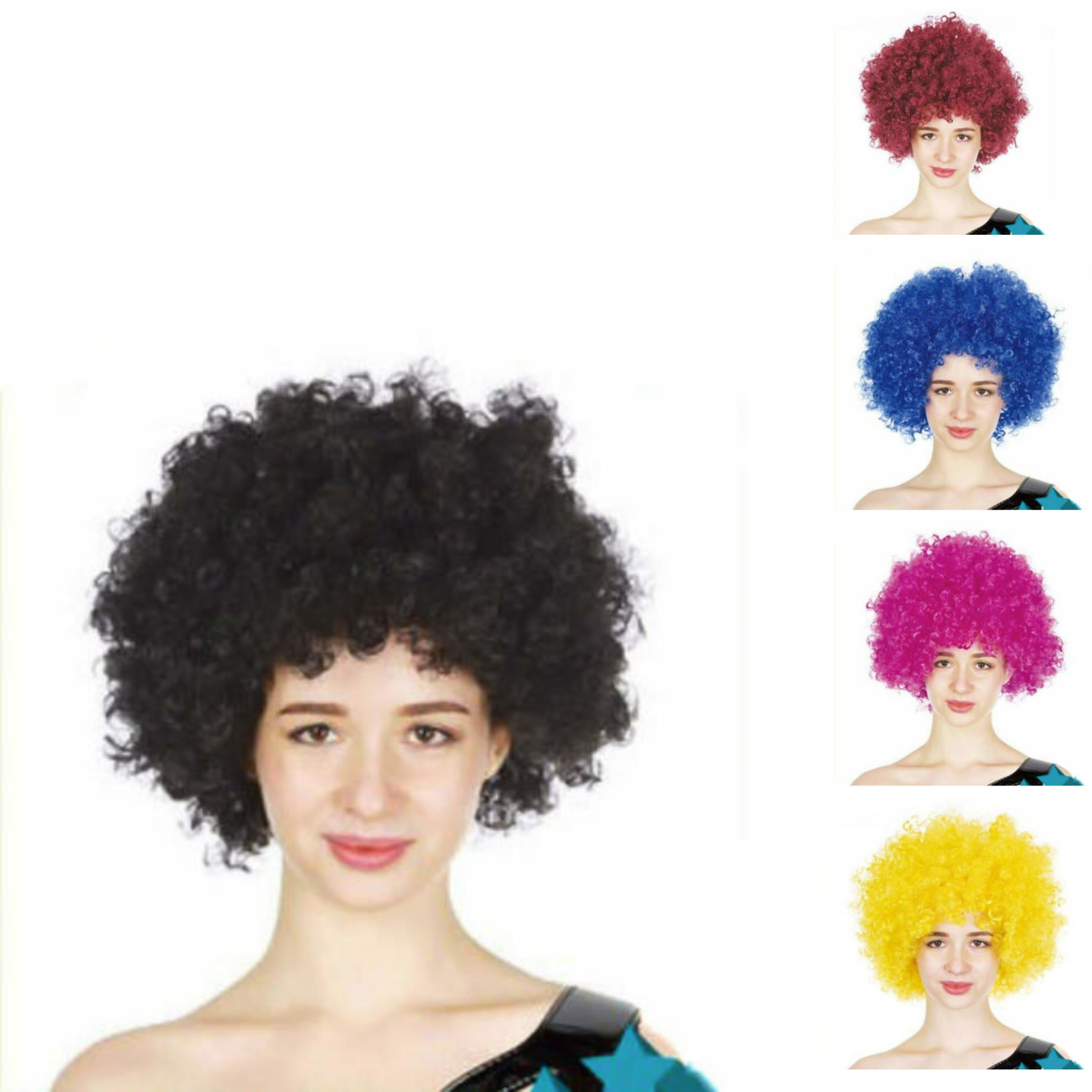 Red Mega Circus Clown Afro Wig Sequin Bow Ladies Womens Fancy Dress Accessory