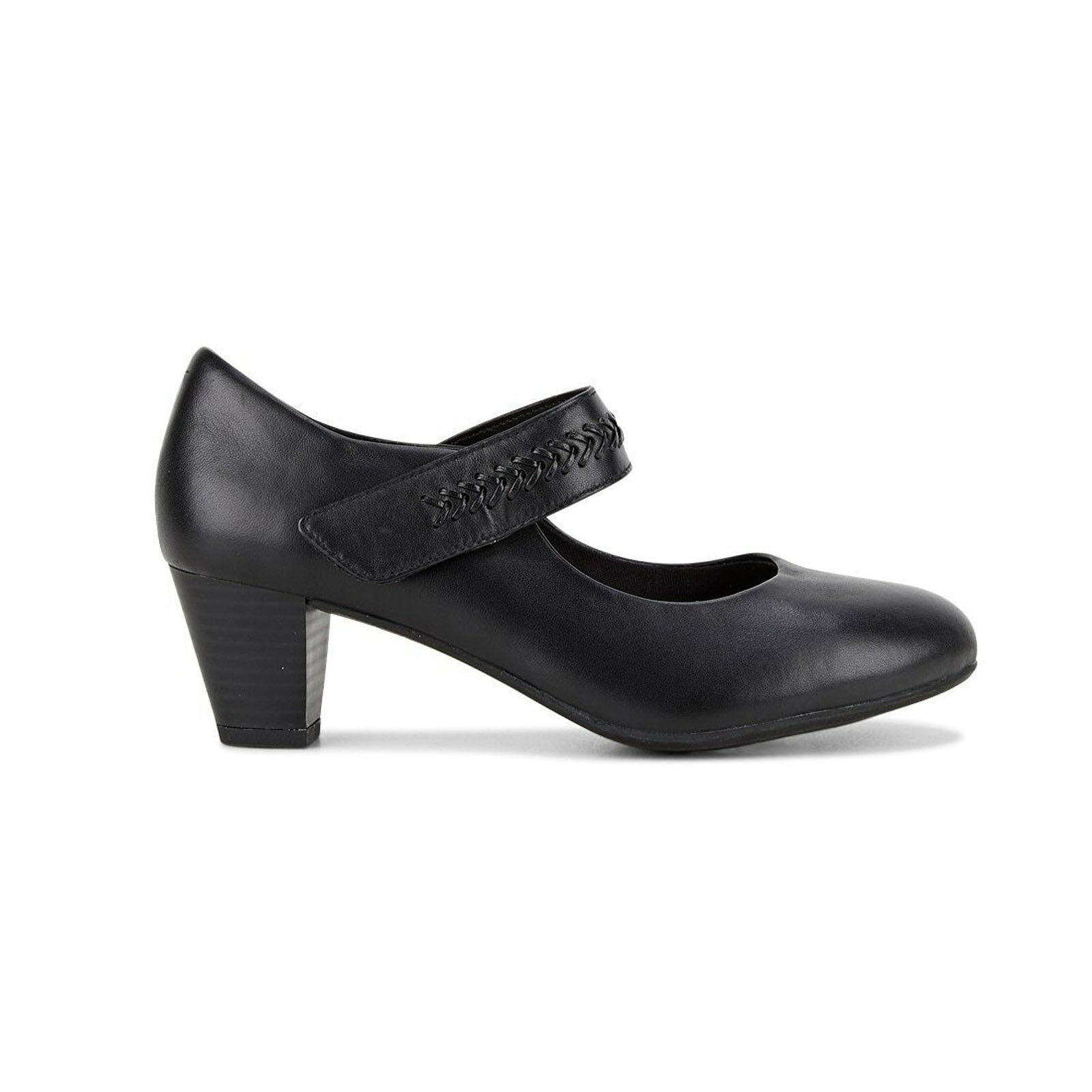 HUSH PUPPIES Cadence Mary Jane Heels Work Formal Strap Leather Shoes Black