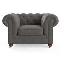 Camden Chesterfield Leather Armchair In Pewter