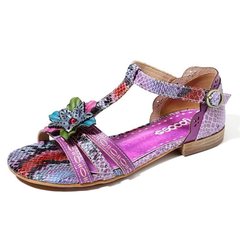 SOCOFY Handmade Floral Leather Flat Sandals