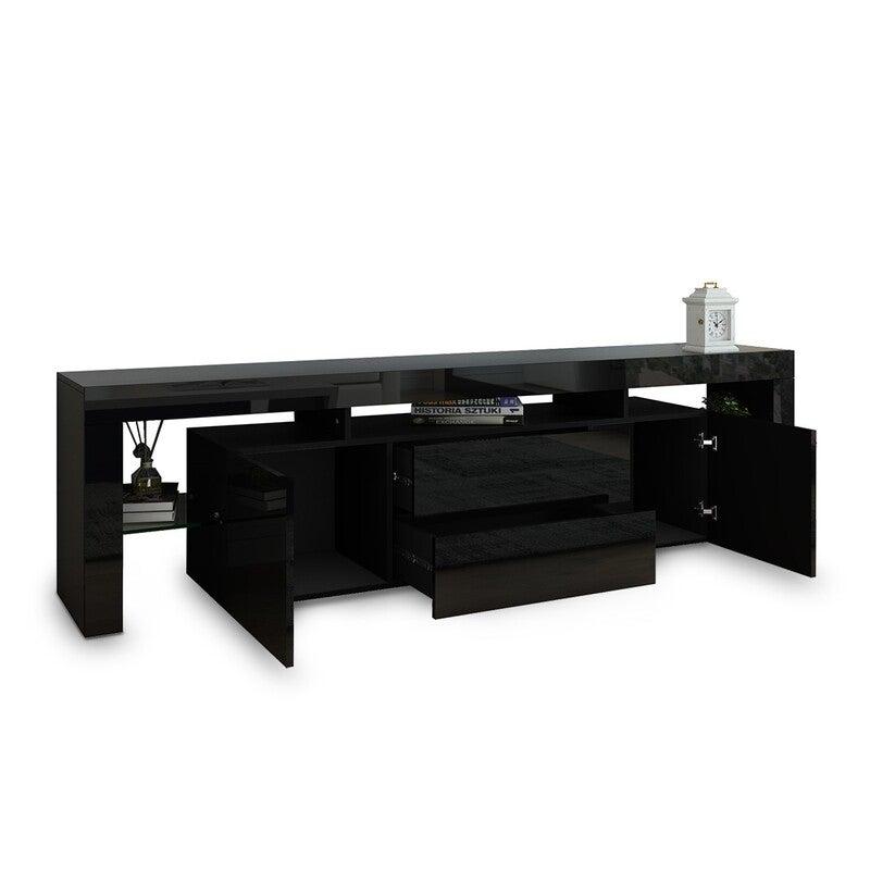 200cm TV Stand Cabinet LED Entertainment Unit Wood Storage