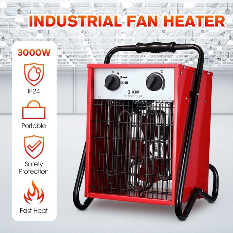 3000W Electric Industrial Fan Heater Garage Fast Heating ...