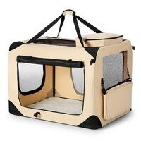 Large Portable Soft Crate For Dog Pet - Beige