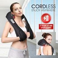 Cordless Neck Back Massager Heat Knead Shiatsu Shoulder Body Massage Home Car Massaging