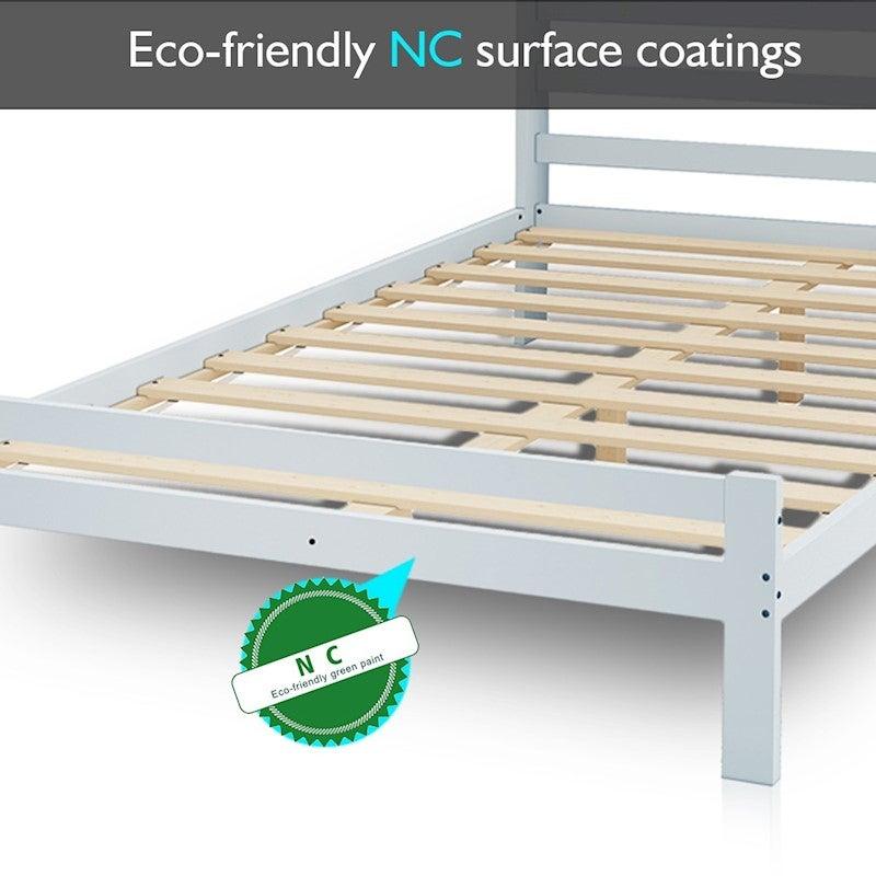 Bed Frame Queen Size Mattress Base Pine Wood Platform