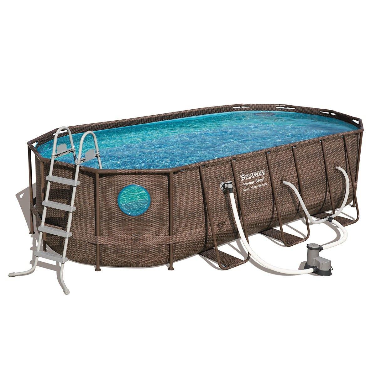 Bestway Steel Frame Above Ground Swimming Pool Filter Pump 5.49 x 2.74 x  1.22M