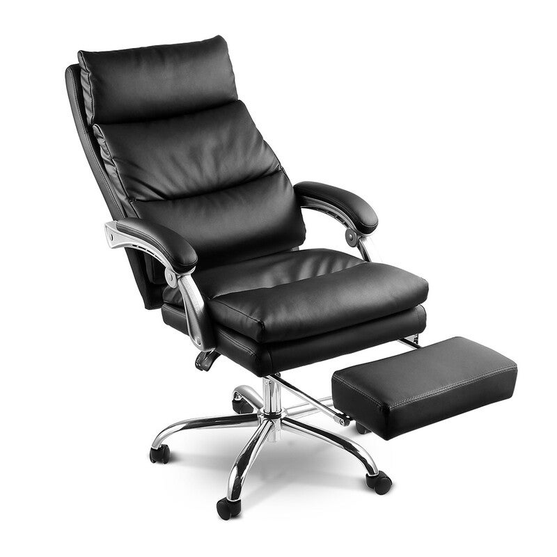Wondrous Deluxe Adjustable Ergonomic Pu Leather Office Chair With Footrest Alphanode Cool Chair Designs And Ideas Alphanodeonline