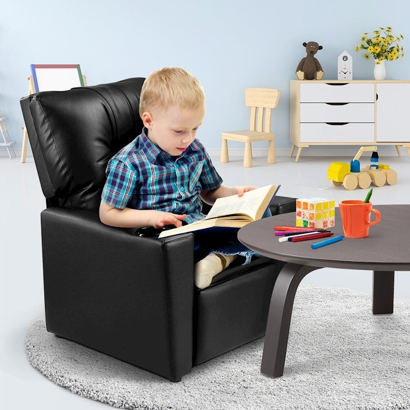 Astounding Kidbot Kids Recliner Sofa Armchair Children Lounge Chair Pu Soft Couch W Cup Holder Black Gmtry Best Dining Table And Chair Ideas Images Gmtryco