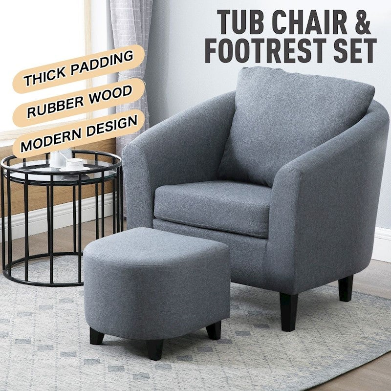 Luxdream Tub Accent Chair Fabric Single Sofa Lounge Couch Wood Armchair Living Room Ottoman Furniture