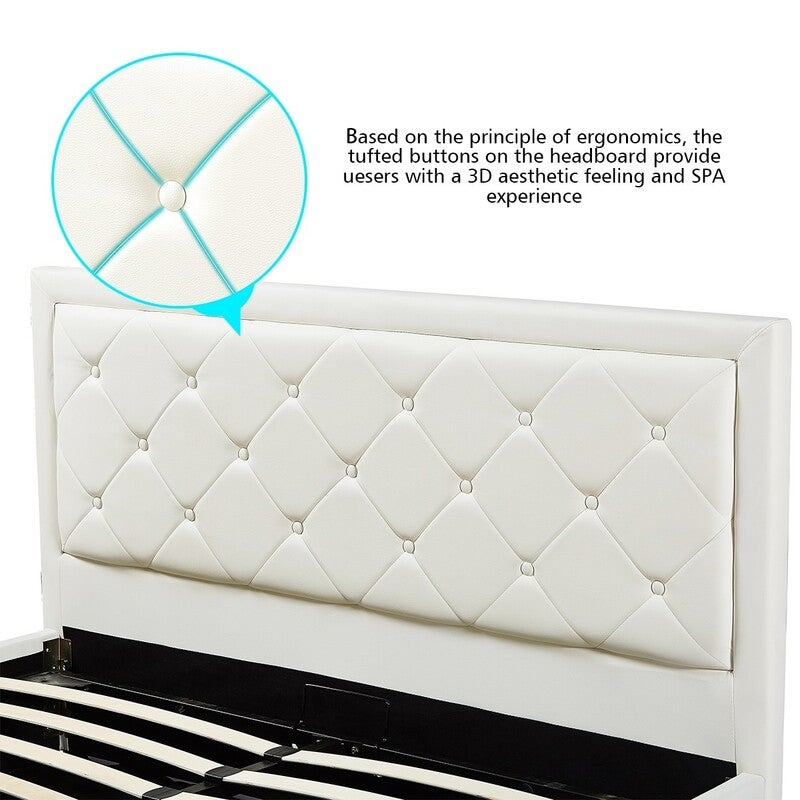 Modern King Size Wood Bed Frame Pu Leather Gas Lift