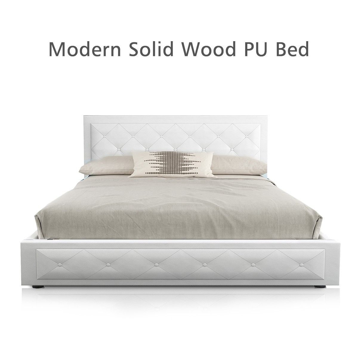 Modern Queen Size Wood Bed Frame Pu Leather Gas Lift