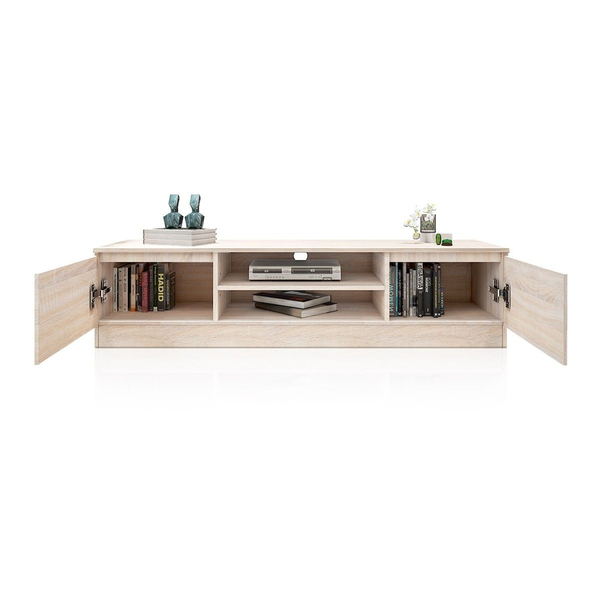 Wooden Storage Cabinet TV Stand With 2 Doors - Oak