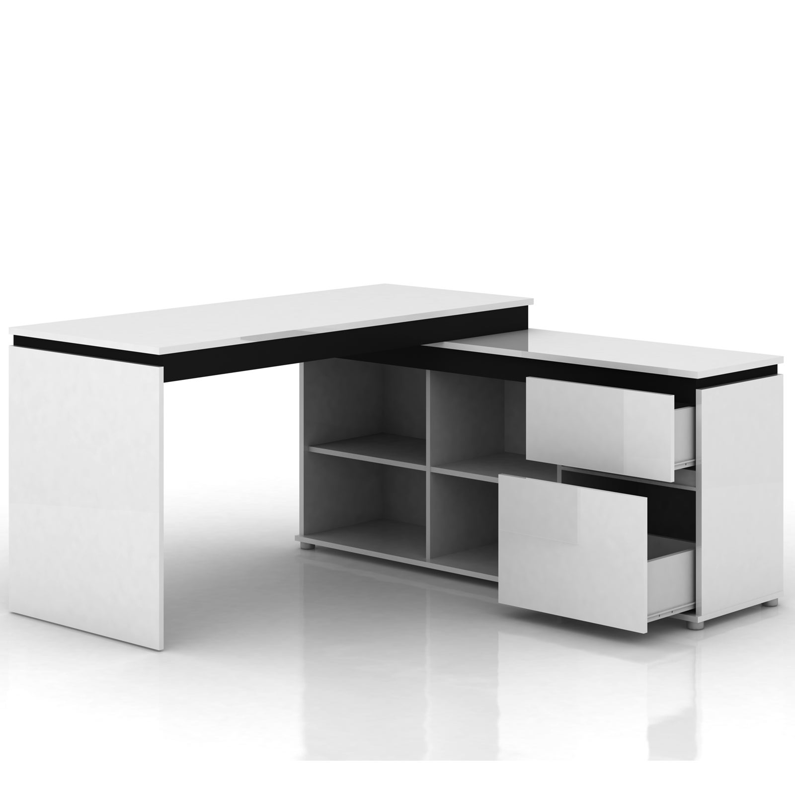 High Gloss Storage Desk Table Office Computer Home Cabinet ...