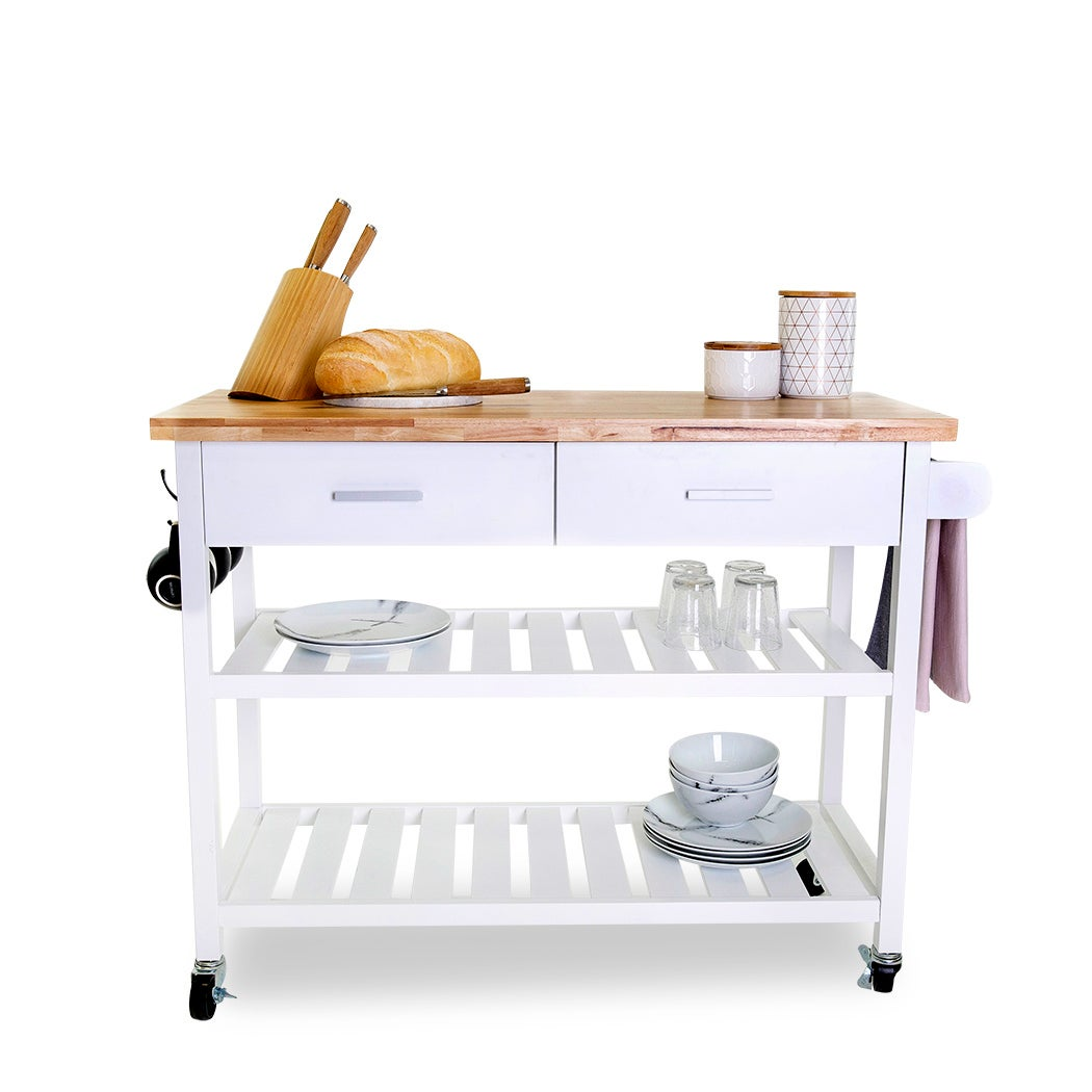 Kitchen Island Trolley With Open Shelves - White | Buy ...