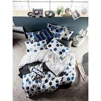 Linen House Tika Blue Queen Quilt Cover Set