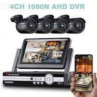 FLOUREON 4CH 1080P 7 Inch CCTV DVR System with 4 PCS Day Night Weatherproof Security Cameras System