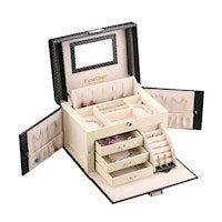 Finether Rectangular Diamond Pattern Leather Jewelry Box Lockable Makeup Storage Case Organizer