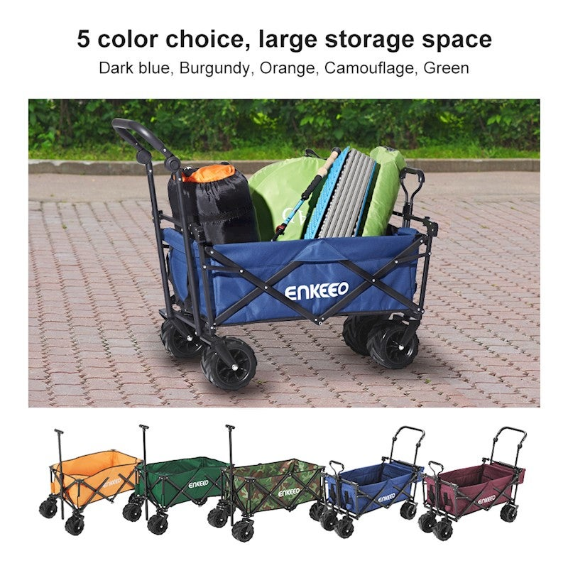 Enkeeo Foldable Utility Wagon Collapsible Sports Outdoor