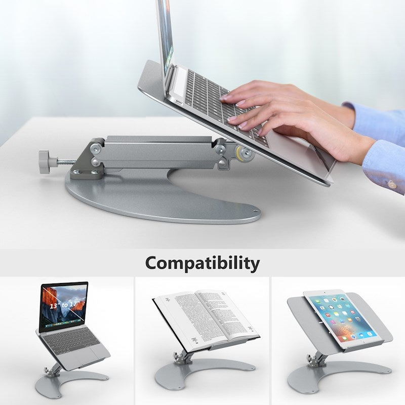 4-Level Angle Adjustment Anti-slip with Heat Dissipation Space Foldable Adjustable Laptop Stand Holder Desk Scaffold for Laptop Notebook Max 17