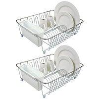 2x D.Line Large Dish Drainer Chrome/PVC w/ Caddy - White