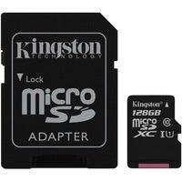Kingston 128GB MicroSD SDHC SDXC Class10 UHS-I Memory Card 80MB/s Read 10MB/s Write with standard SD adaptor ~SDC10G2/128GBFR FMK-SDC10G2-128 SDCS/128GB