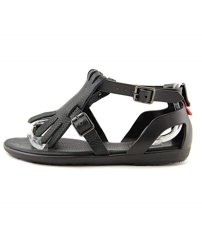 Hunter Womens original fringe t bar Open Toe Casual Ankle Strap Sandals US