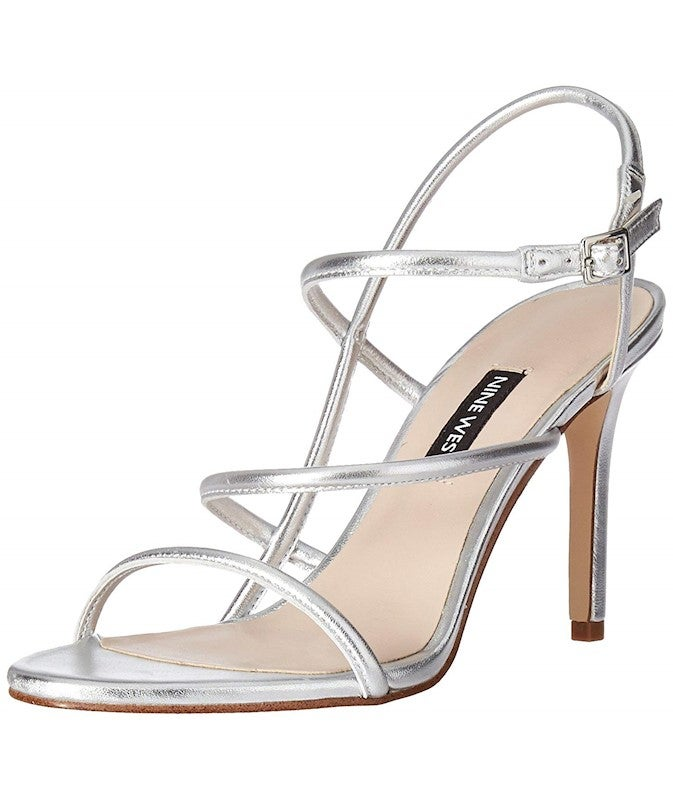 Nine West Women's Mericia Metallic Sandal, Silver, Size 10.0 US