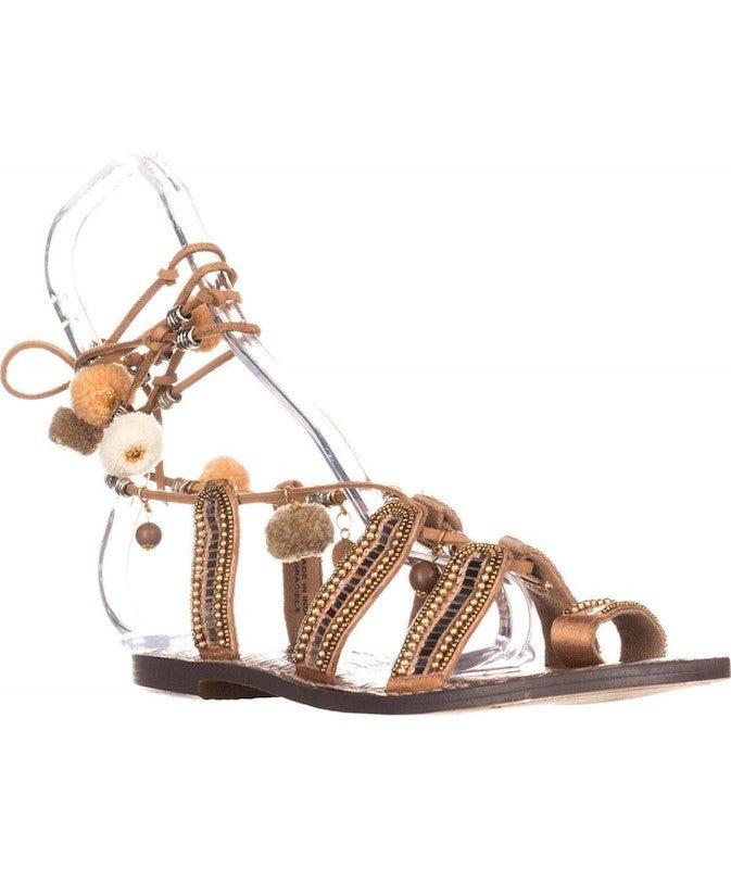 Sam Edelman Graciela Flat Lace Up Sandals, Saddle Leather US