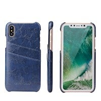 For iPhone XS,X Case,Styled Deluxe Durable Protective Leather Cover,Blue