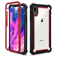 For iPhone XR Case Black,Red Four-corner Shockproof Transparent Space Cover