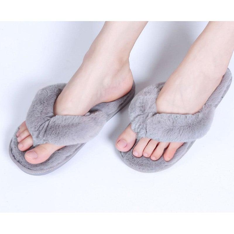 Plush Thong Slippers For Women Spa Soft Fleece Flip Flops