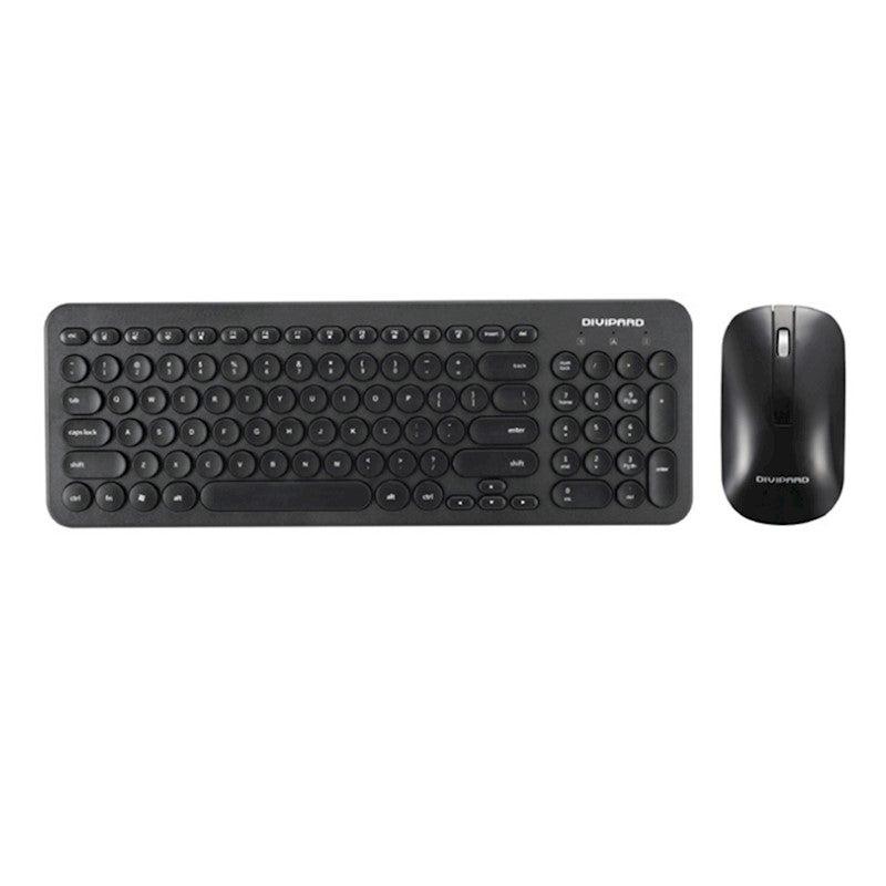 retro silent keyboard 2 4g wireless keyboard and mouse set black buy computer keyboards. Black Bedroom Furniture Sets. Home Design Ideas