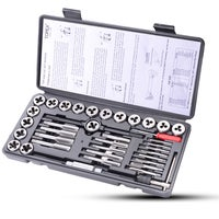 TOPEX 40-Piece Metric SAE Tap and Die Set Screw Thread Drill Kit Pitch Gauge M3-M12