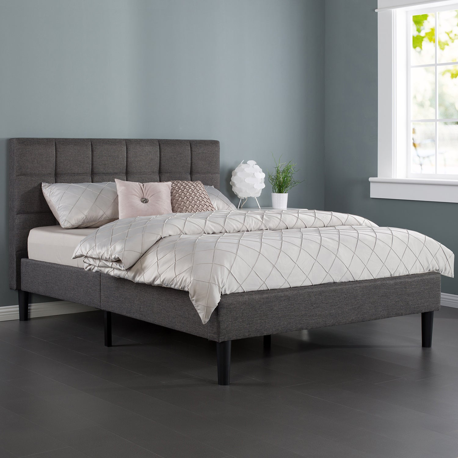 Zinus Classic Upholstered Fabric Bed Frame Dark Grey