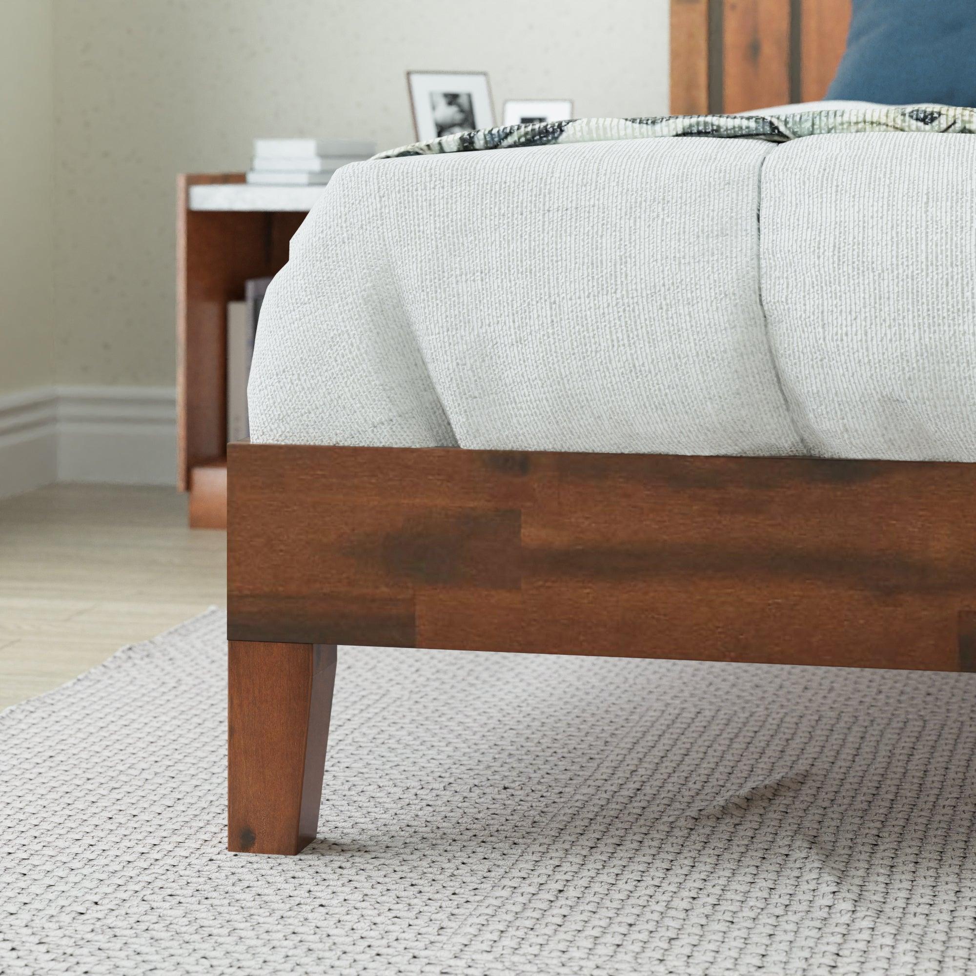 Zinus Deluxe Solid Wood Platform Bed Frame Timber