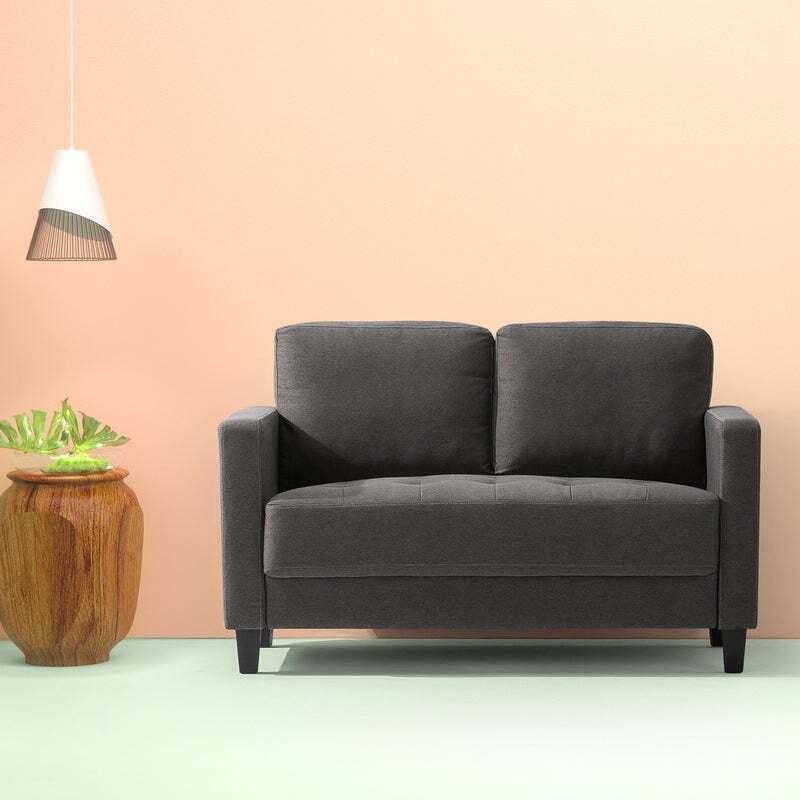 Zinus Modern Loveseat Sofa 134cm Couch Lounge Dark Grey