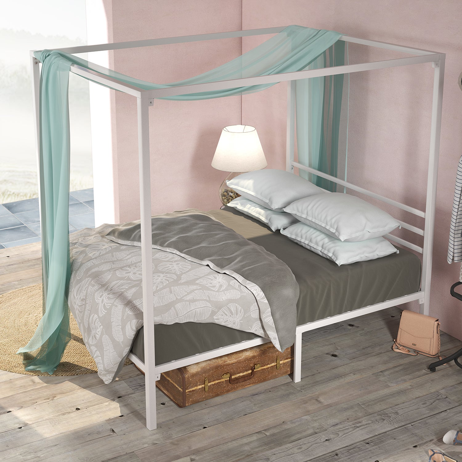 Zinus Patricia White Metal Steel Four Poster Bed Frame